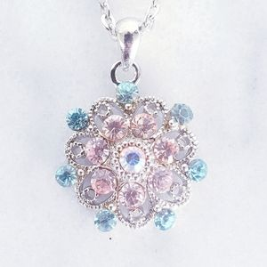 #1001 New Crystal Floral Silver Purple Necklace